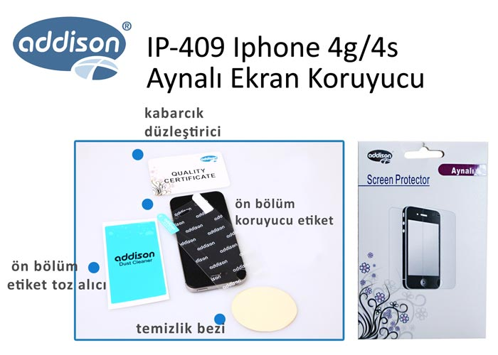 Addison IP-409 Aynalı Ekran Koruyucu Iphone 4g/4s