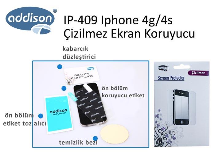 Addison IP-409 Iphone 4g/4s Çizilmez Ekran Koruyucu