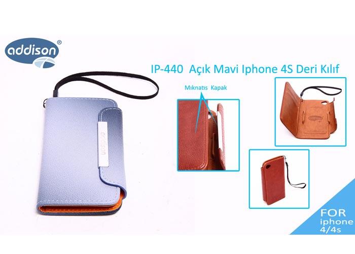 Addison IP-440 Mavi Iphone 4S Deri Kılıf