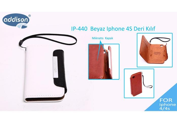 Addison IP-440 Beyaz Iphone 4S Deri Kılıf
