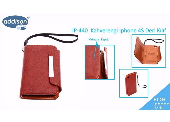 Addison IP-440 Kahverengi Iphone 4S Deri Kılıf