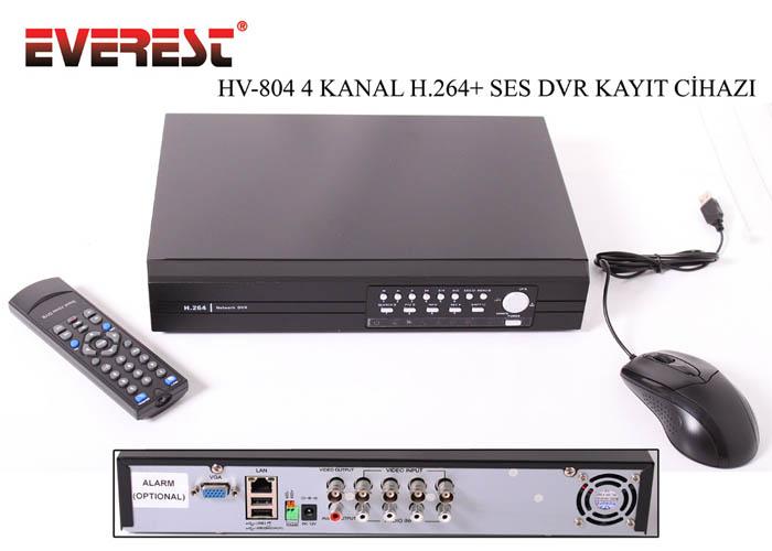 Everest HV-804 4Ch Görüntü H.264 DVR Kayıt Cihazı