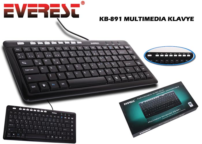 Everest KB-891 Siyah USB Q Multimedia Klavye