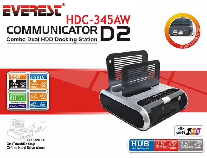 Everest HDC-345AW Harici Usb Esata Hdd + Wireless Kart Okuyucu Do