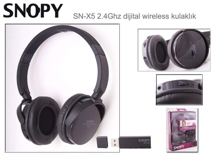 Snopy SN-X5 Siyah 2.4Ghz Kablosuz Mikrofonlu Kulaklık