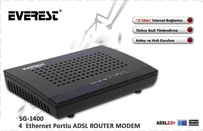 Everest SG-1400 Ethernet 4 Port Bridge Compatible Adsl 2/2 + Modem