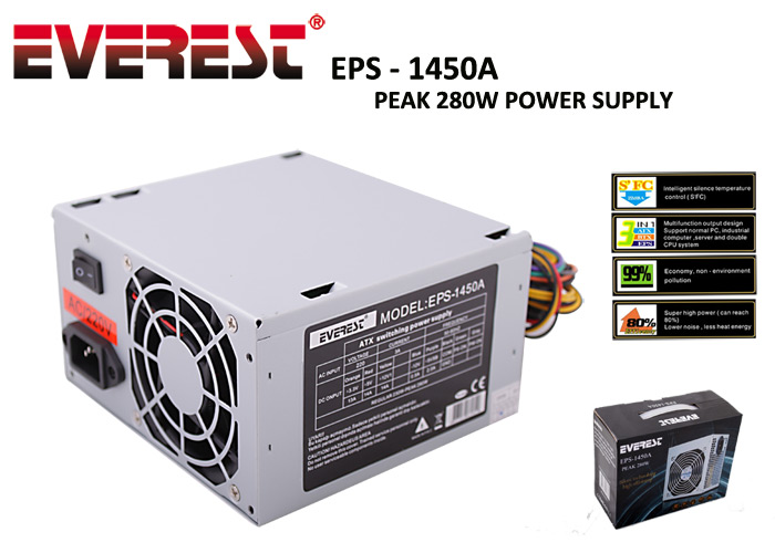 Everest EPS-1450A Real-230W Peak-280W 20+4 Pin Power Supply