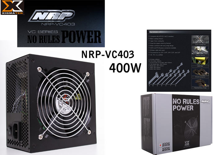 Xigmatek NRP-VC403 400W PFC+12cm Fan Power Supply
