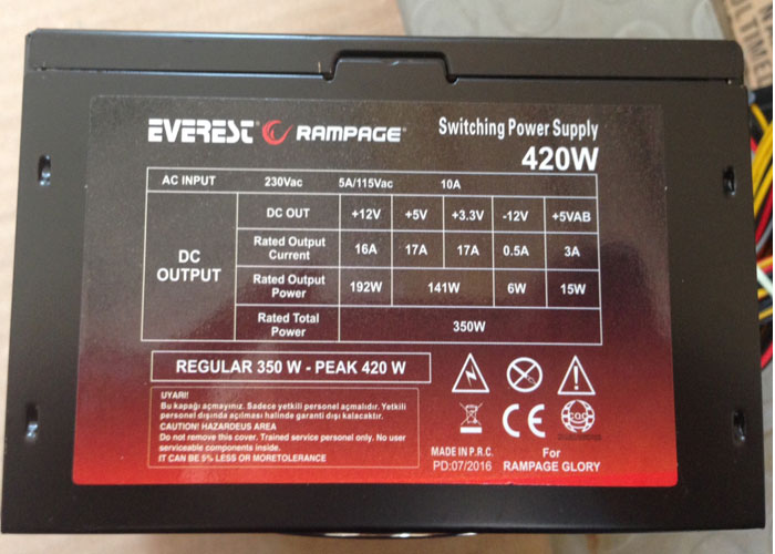 Everest Rampage Peak-420W Kutusuz 12cm Fan Power Supply