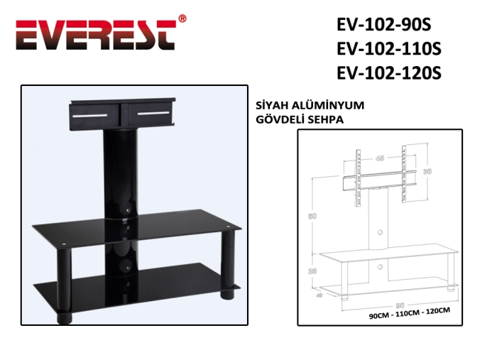 Everest EV-102-110S 110cm Black Lcd Tv Stand