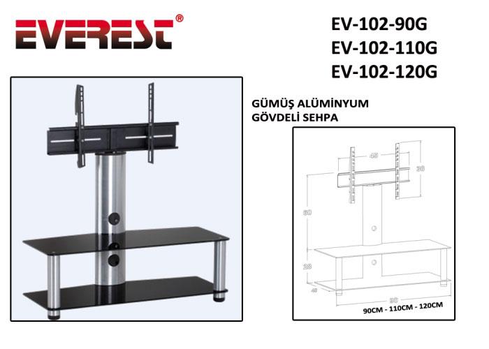 Everest EV-102-110G 110cm Gümüş Lcd Tv Sehpası