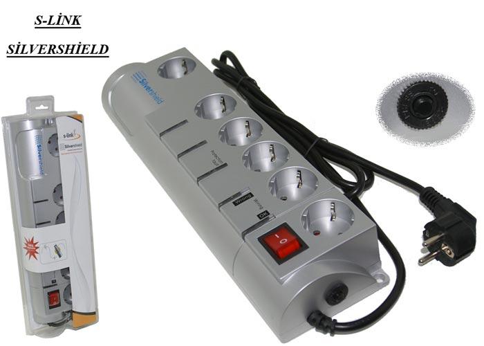 S-link SIS 6Lı Telf/Fax/Modem Kor.Gümüş Priz