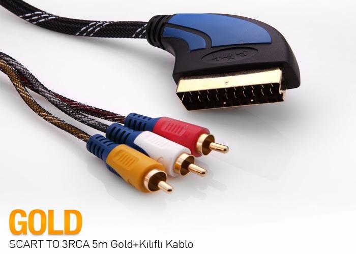 S-link SLX-930 SCART TO 3RCA 2m Gold+Kılıflı Kablo
