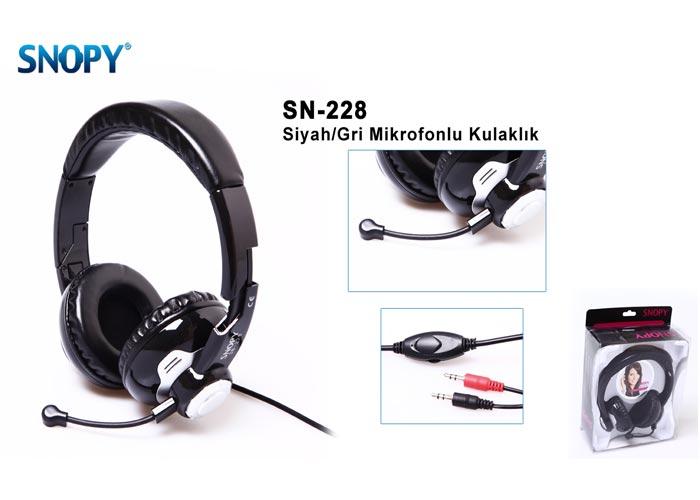 Snopy SN-228 Siyah/Gri Mikrofonlu Kulaklık