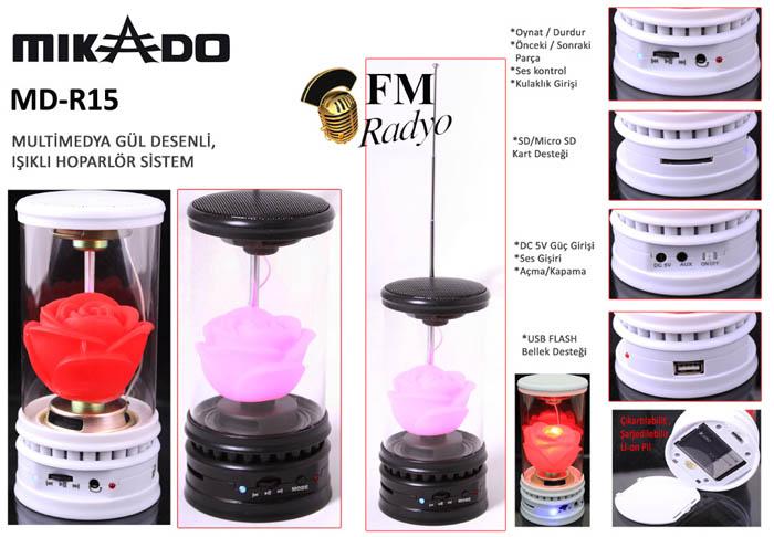 Mikado MD-R15 Siyah SD+MMC+Fm destekli Gül Modelli Speaker
