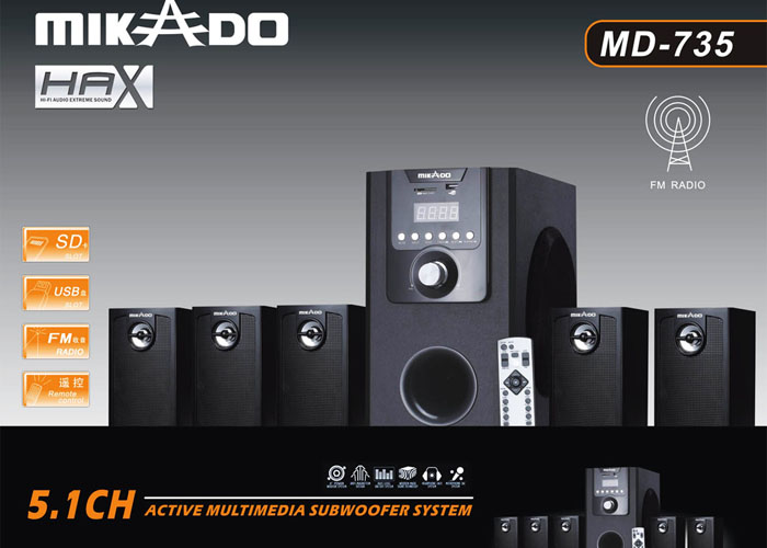 Mikado MD-735 5+1 Usb+SD+FM Supported + Remote Ku Speaker