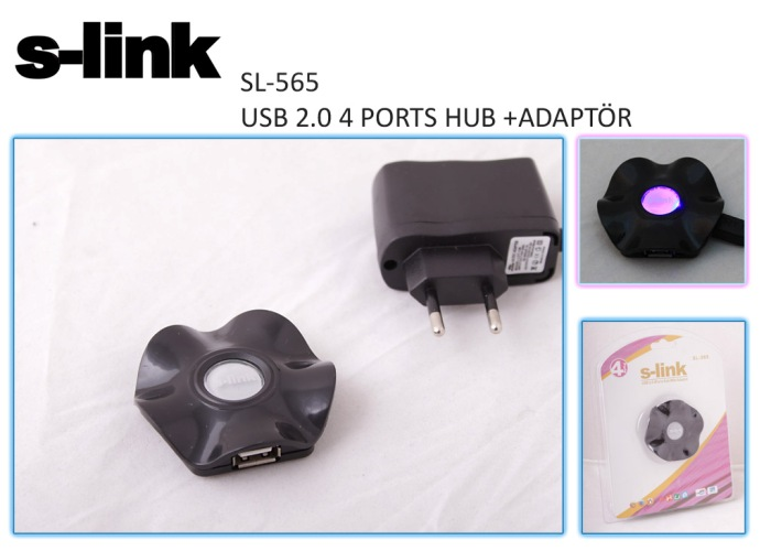 S-link SL-565 4 Port Usb 2.0 Adaptörlü Usb Hub