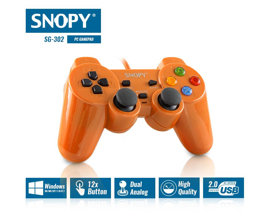 Snopy SG-302 Orange USB 1 8m Cable Joypad - Segment Bilgisayar