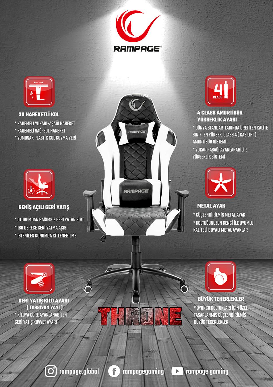 Rampage Kl R40 Throne Serisi Siyah Beyaz Oyuncu Koltugu Rampage