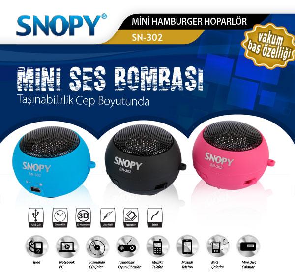 Snopy SN-302 Siyah Micro SD Hamburger Mini Ses Bombası