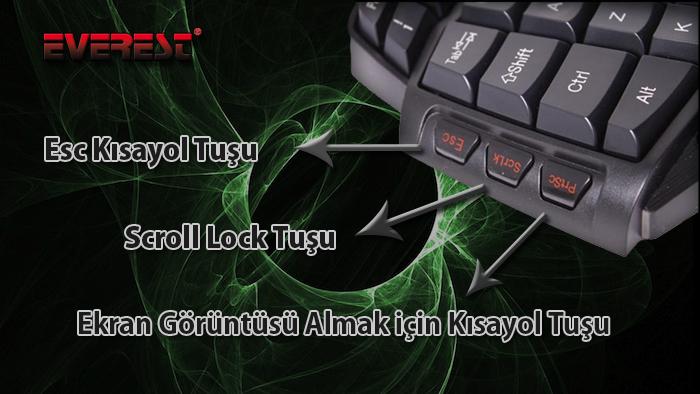 Everest DLK-T9S Siyah/kırmızı USB Multi media Oyun Q Klavye